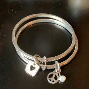 Brighton double bangle bracelet with charms